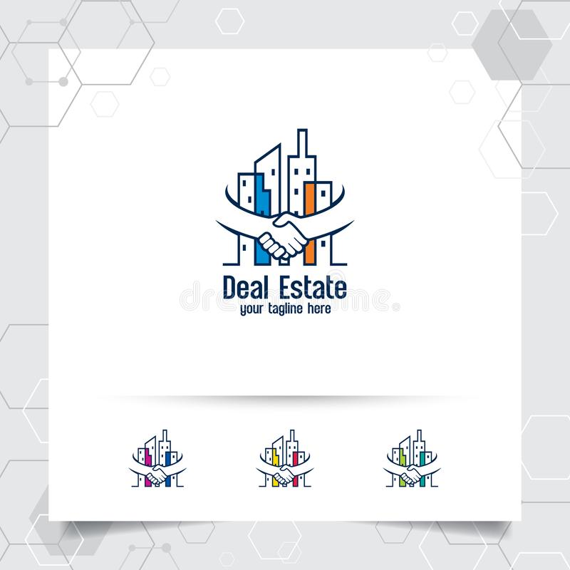 Eigentumslogo-Entwurfsvektor mit Konzept der Abkommen- und Handerschütterung Immobilien- und Wohnungslogovektor für Hotel, Wohnsi lizenzfreie abbildung