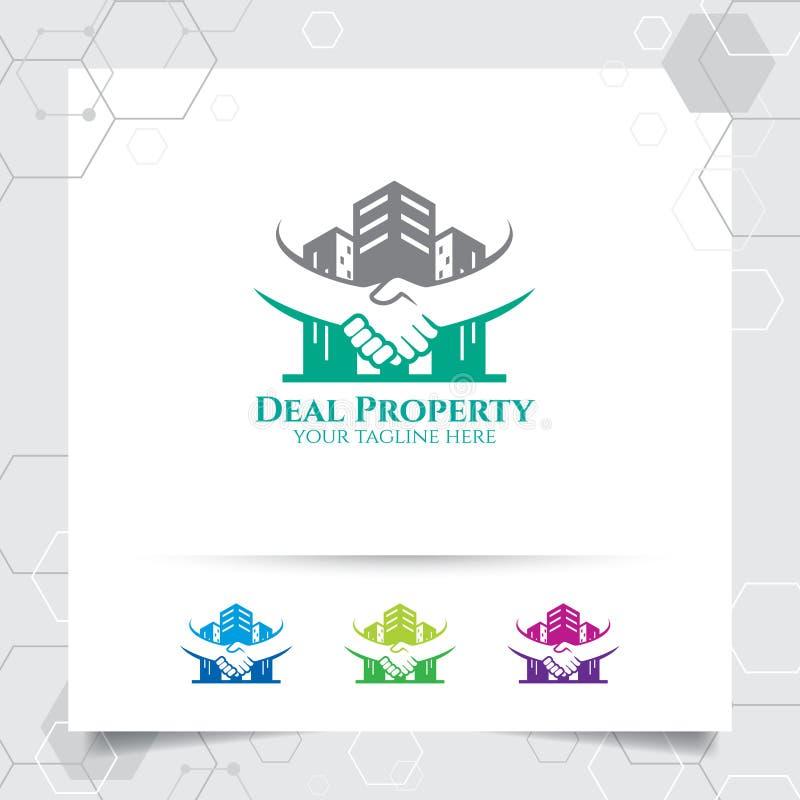 Eigentumslogo-Entwurfsvektor mit Konzept der Abkommen- und Handersch?tterung Immobilien- und Wohnungslogovektor f?r Hotel, Wohnsi lizenzfreie abbildung