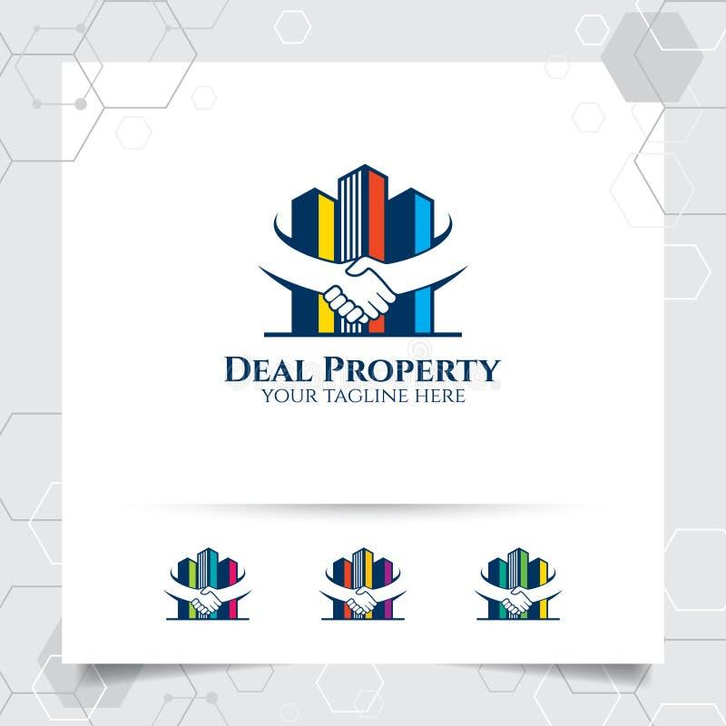 Eigentumslogo-Entwurfsvektor mit Konzept der Abkommen- und Handersch?tterung Immobilien- und Wohnungslogovektor f?r Hotel, Wohnsi vektor abbildung