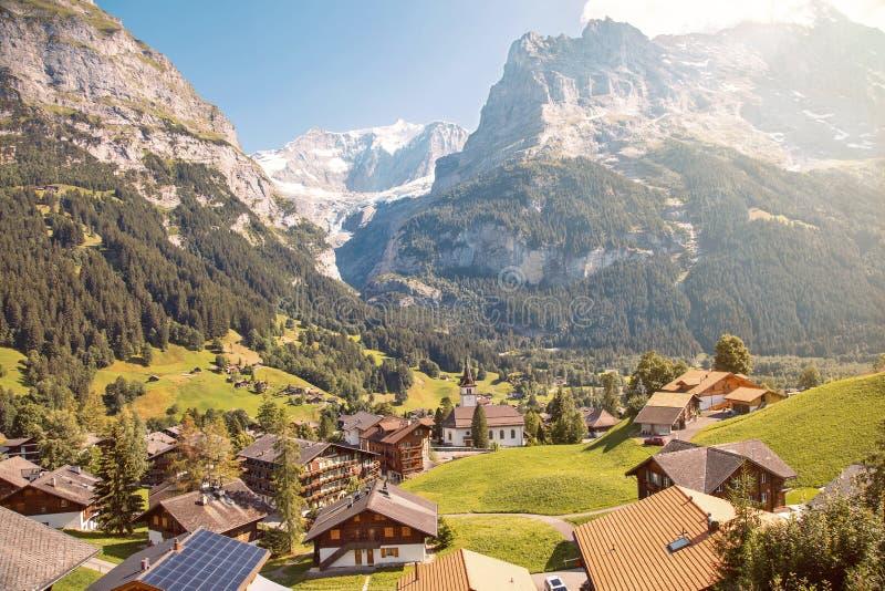 Eiger, Monch en Jungfrau uit Grindelwald, Canton Bern, Zwitserland royalty-vrije stock fotografie