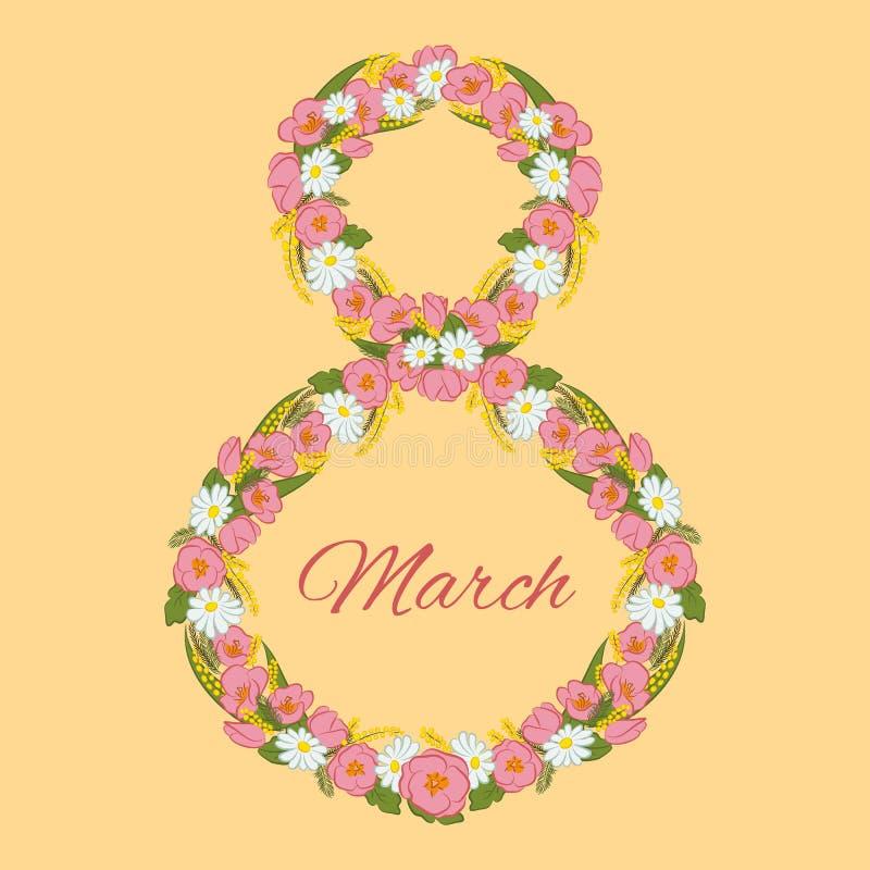 Eigh van de de Vrouwens Dag van Maart Internationale de groetkaart Mimosabloemen, tulp, kamille in de vorm van een cijfer wordt g royalty-vrije illustratie