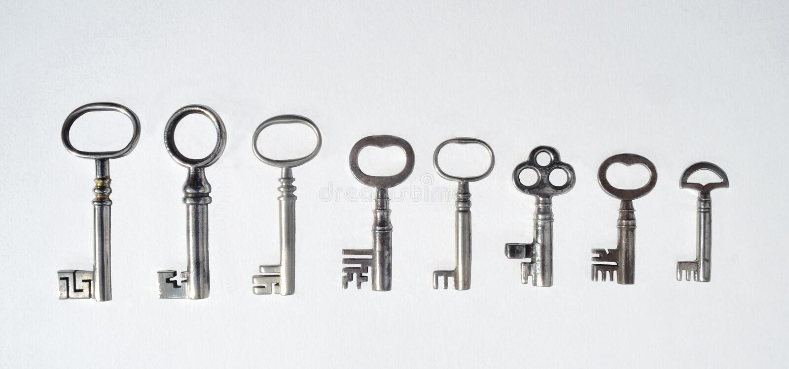 Eight Antique Pipe Keys stock photo