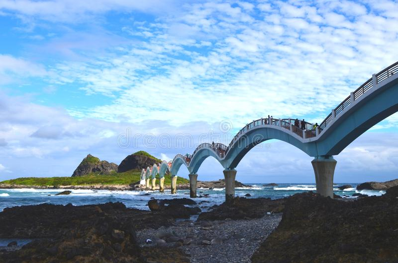 Sanxiantai`s eight-arch bridge, near Chenggong, on Taiwan`s East Coast National Scenic Area. The eight-arched bridge in Sanxiantai, near the town of Chenggong stock photos