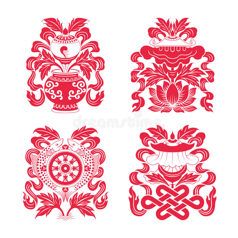 Eight auspicious treasures in Buddhism. Tibetan Buddhists make use of a particular set of eight auspicious symbols, ashtamangala whorl conch,endless knot,pair of vector illustration