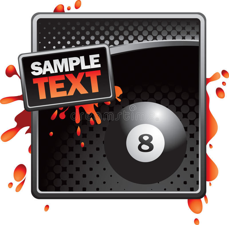 Eight ball on black halftone banner stock illustration