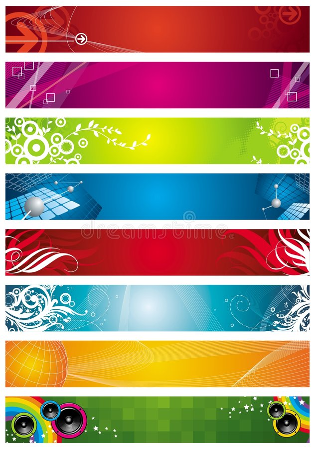 Eight banners royalty free stock photo