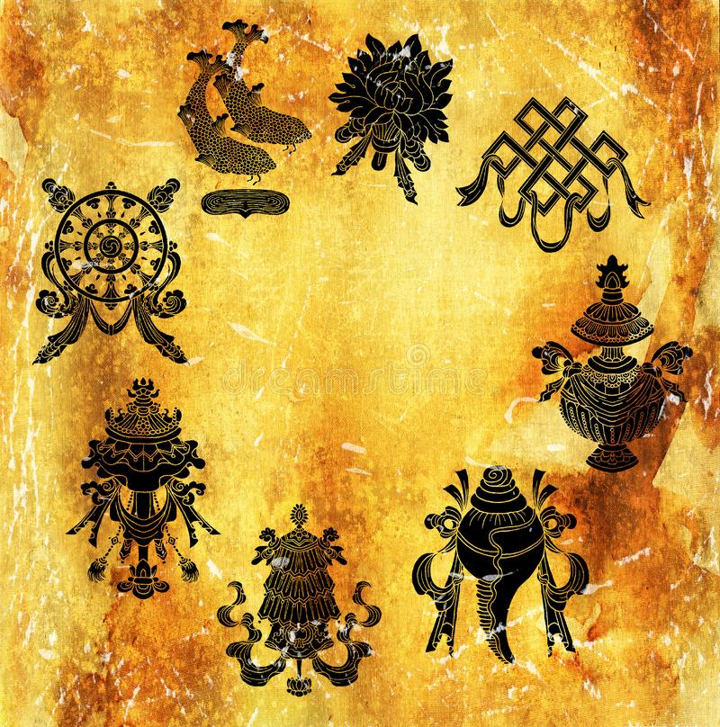 Eight black auspicious symbols of Buddhism on golden texture with copy space royalty free illustration