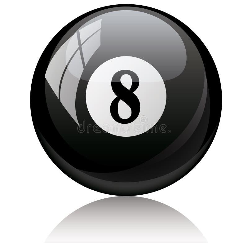 Eight, black - pool ball against white background