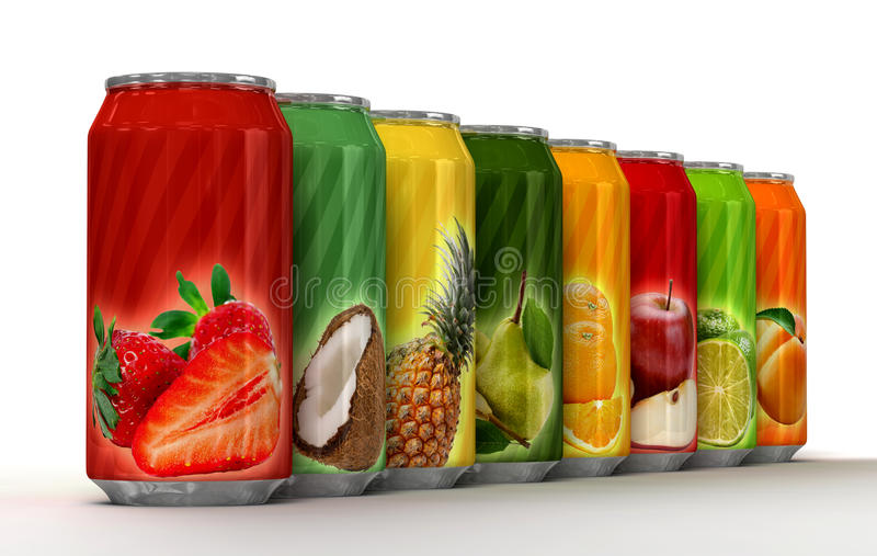 Natural fruit juice on cans. Eight generic blank cans of juice stock illustration