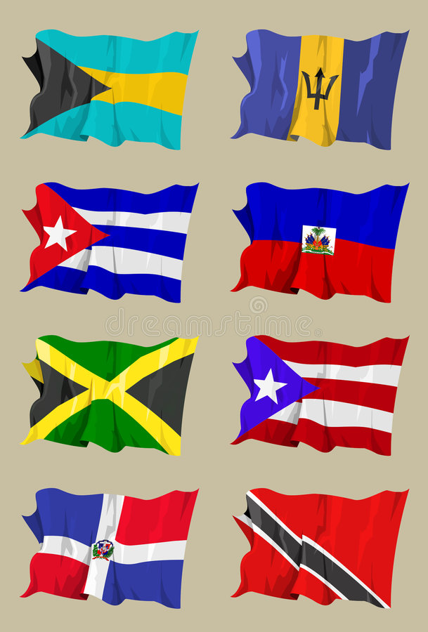 Free Eight Caribbean Flags Royalty Free Stock Image - 5370936