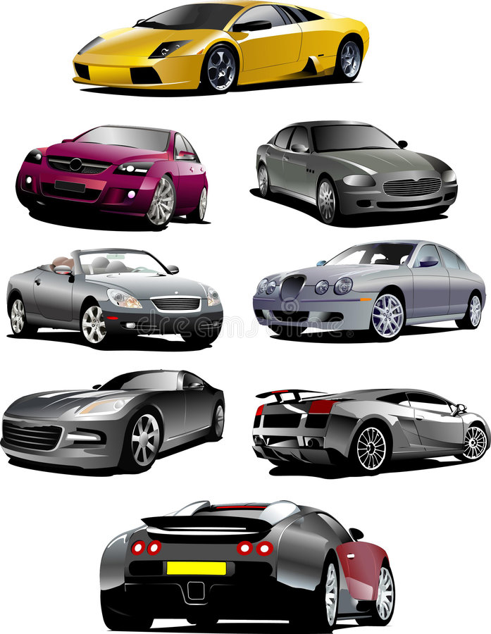 Eight  cars on the road stock images