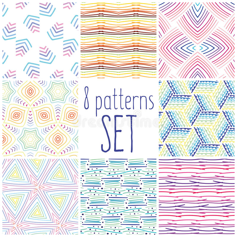 Eight colorful pattern set, doodle patterns for your design. royalty free stock images