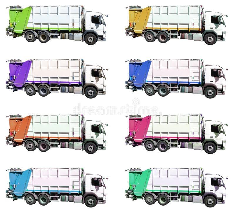 Colourful garbage trucks on wihite background stock photos