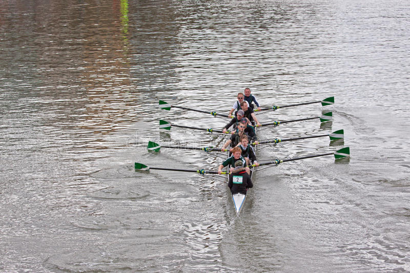 Eight Crew. BRISTOL, ENGLAND - FEBRUARY 19: Team of eight competing in the annual Head of the River race in Bristol, England on February 19, 2012. One hundred stock photos