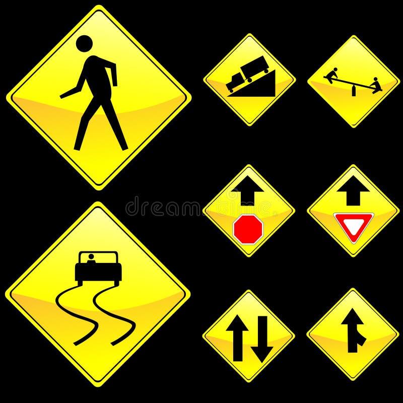 Eight Diamond Shape Yellow Road Signs Set 4 vector illustration