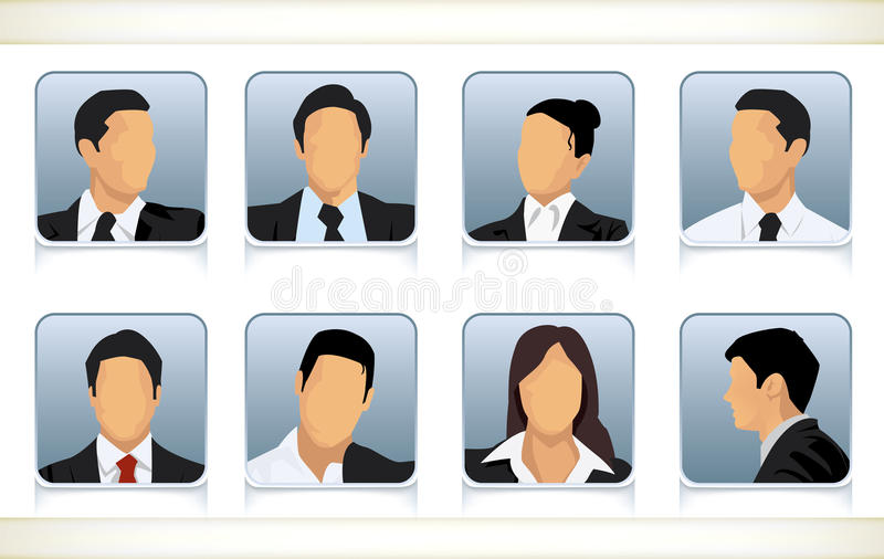 Eight faceless heads of businesspeople. Template illustration of eight faceless or featureless head and shoulder portraits for male and female businesspeople in royalty free illustration