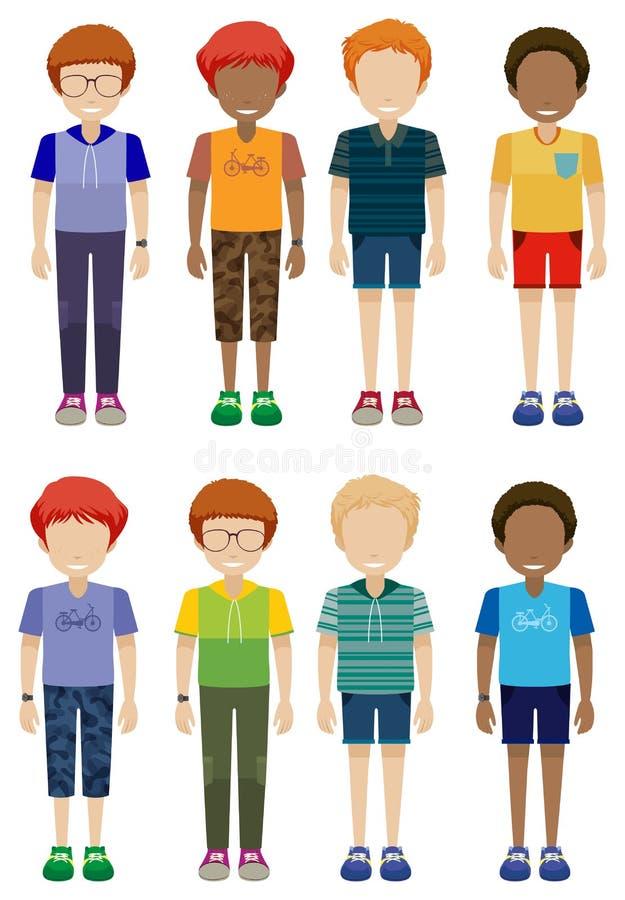 Eight faceless kids. On a white background stock illustration
