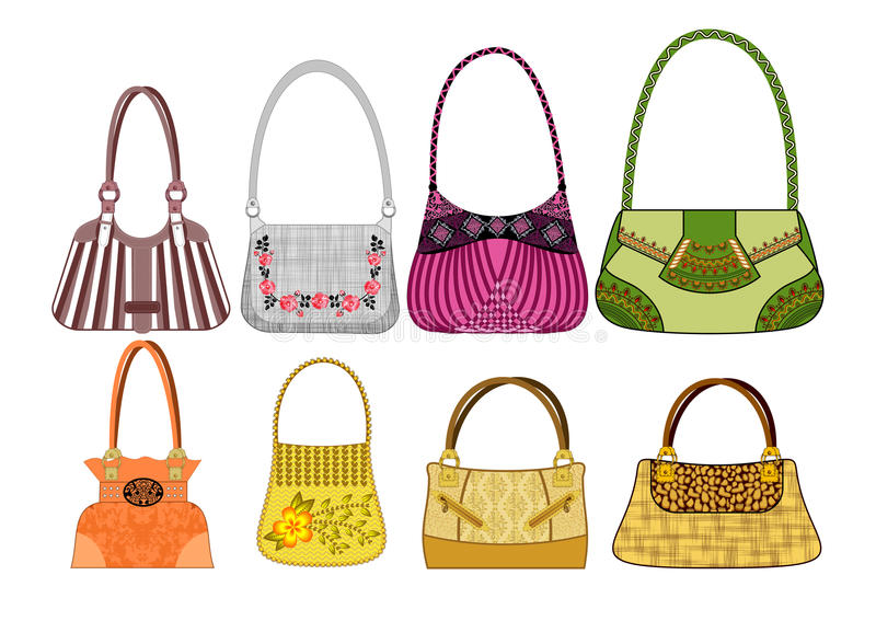 Eight female bags royalty free illustration