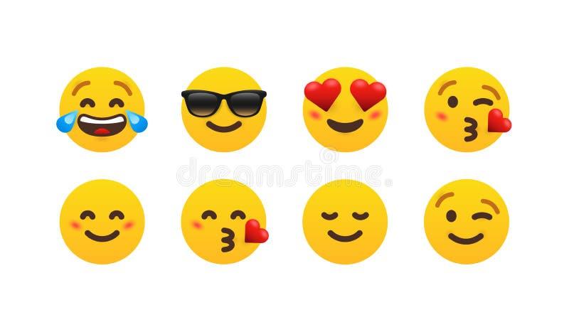 Eight funny gradient emoticon set royalty free illustration