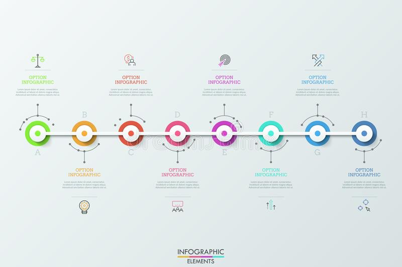Eight futuristic circular elements placed horizontally and connected, thin line symbols and text boxes. Concept of 8 vector illustration