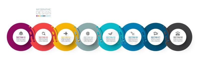 Eight harmonious circle infographic vector illustration