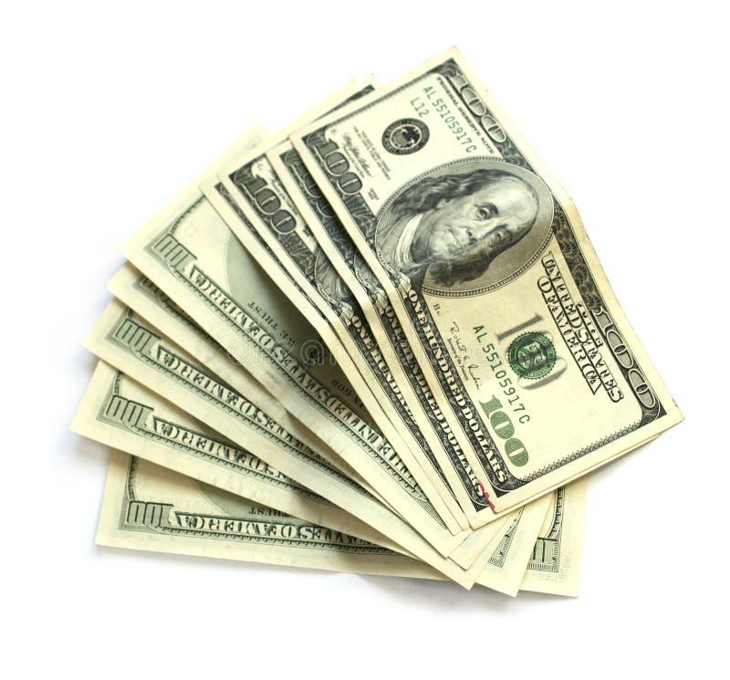 Eight hundred dollar bills on white royalty free stock image