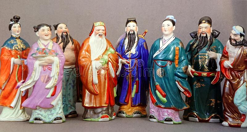 Eight Immortals Legendary Characters Sculpture. Eight Immortals Chinese Legendary Characters Sculptures stock photos