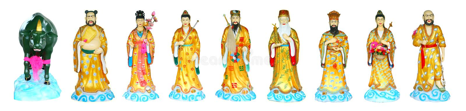 The Eight Immortals Isolated. The Eight Immortals in Chinese temple ,Chonburi Thailand stock photos