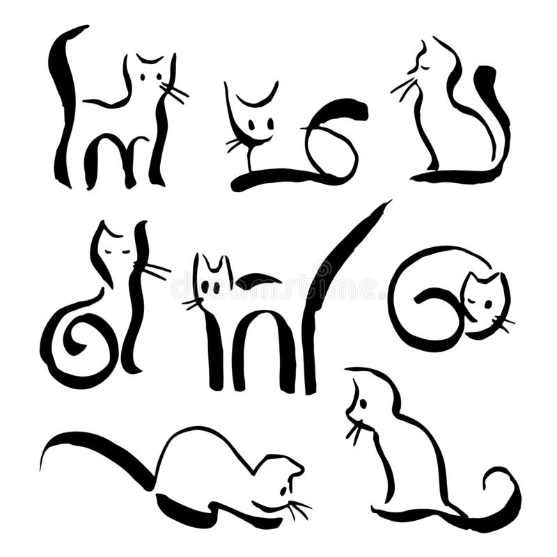 Eight isolated black outline line cats in hand drawn style royalty free stock photos