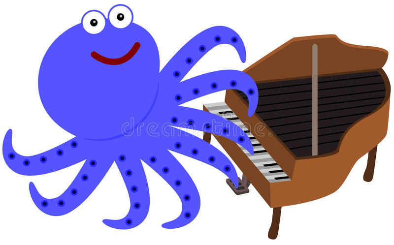Eight legs and a piano. A cartoon illustration of an octopus playing the piano vector illustration