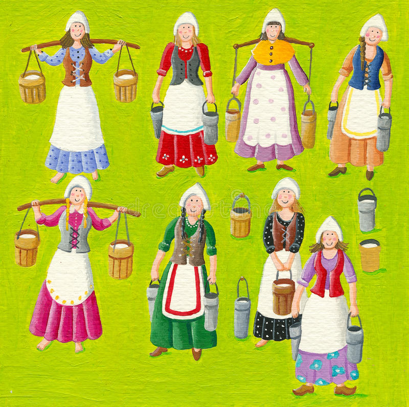 Eight Maids A Milking stock illustration