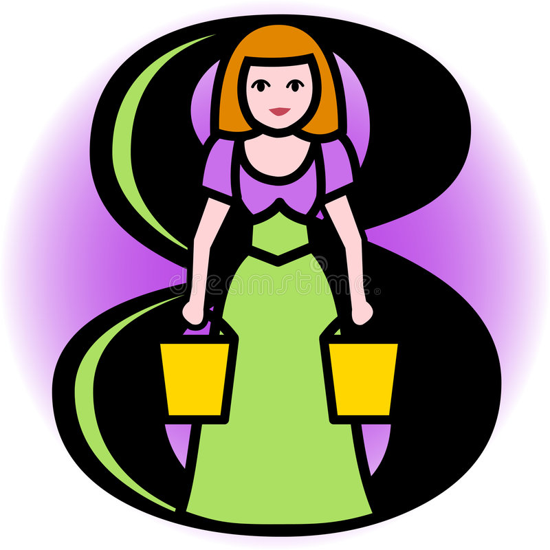 Eight Maids A Milking/eps vector illustration