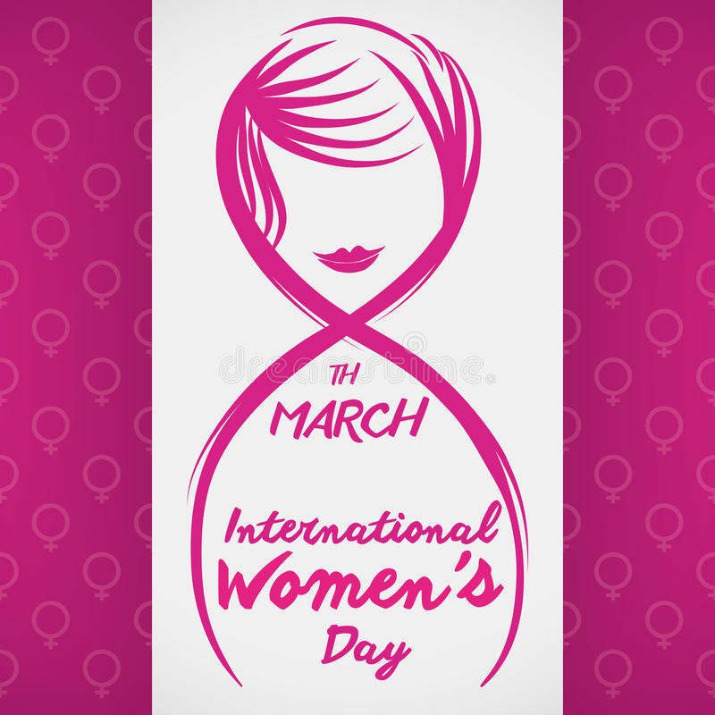 Eight of March, International Women's Day Design with Lines, Vector Illustration stock photography