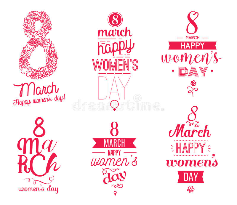 Eight march typographic design set. Happy womens day. vector illustration