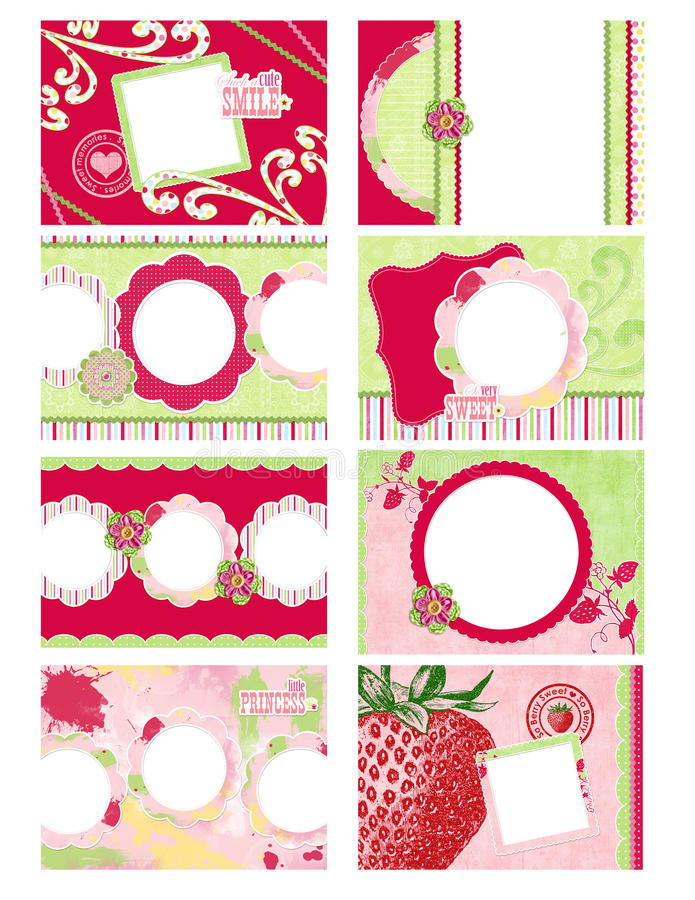 Free Eight Mini Photo Album Pages With Strawberry Theme Royalty Free Stock Photo - 14192675