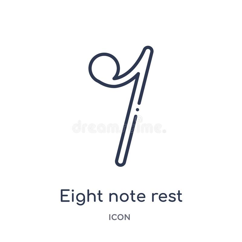 Eight note rest icon from music and media outline collection. Thin line eight note rest icon isolated on white background royalty free illustration