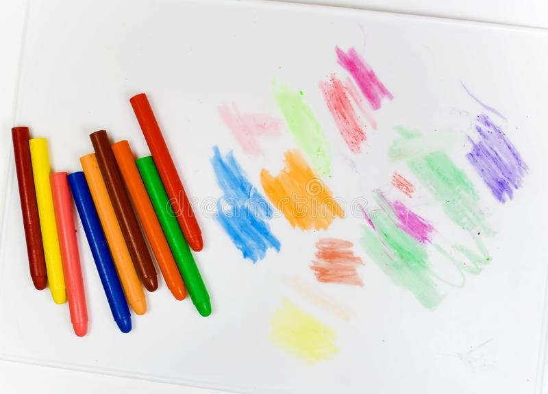Download Eight Oil Pencils On A White Plastic Board Stock Image - Image: 8643077