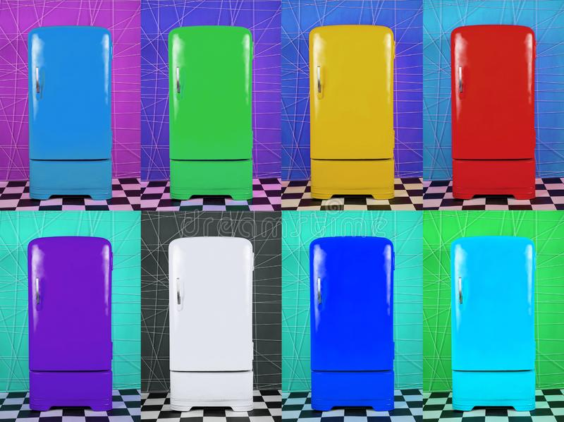 Eight old multi-colored fridges on different backgrounds royalty free illustration