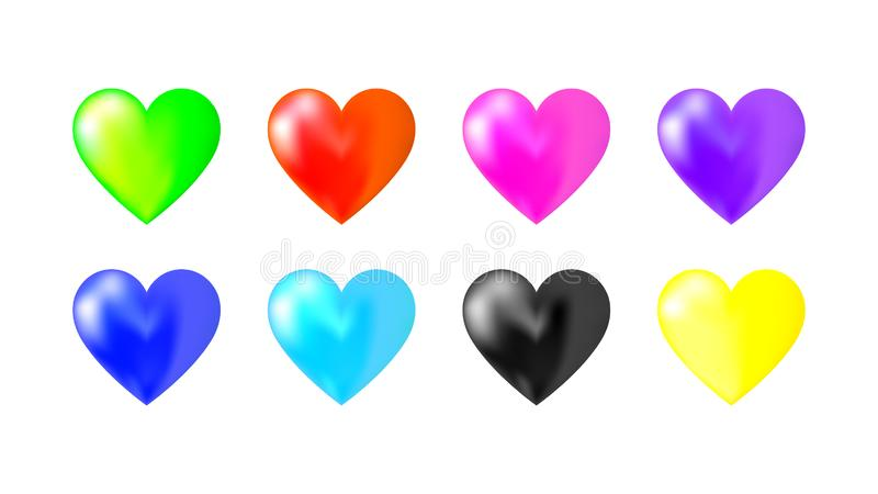eight pack hearts colors vector design stock illustration