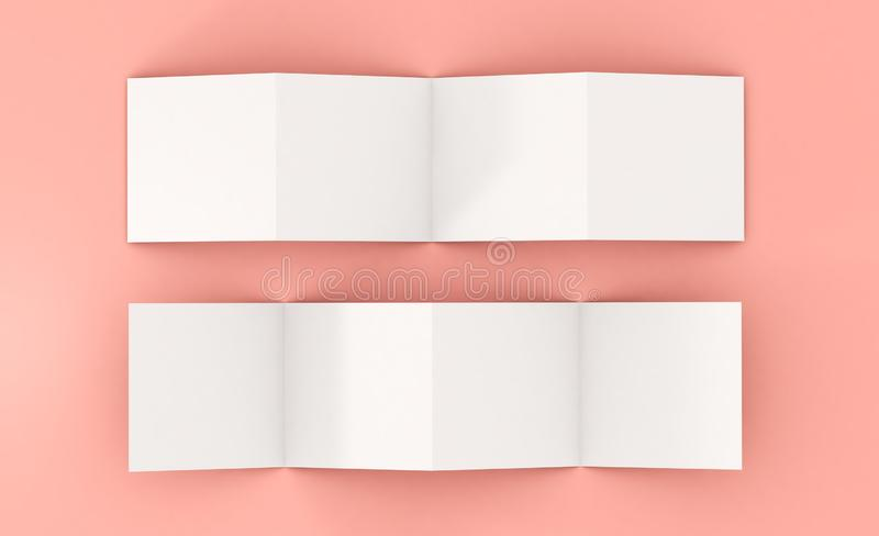 Eight pages leaftlet mockup. Eight pages white leaflet 3d rendering mockup royalty free illustration