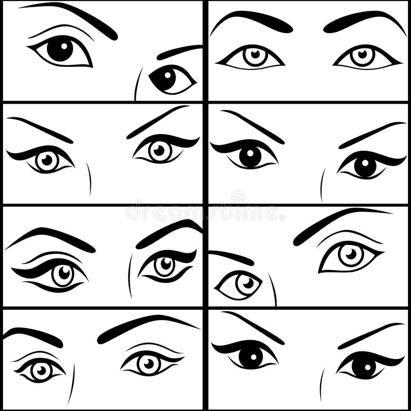 Eight pairs of female eyes vector illustration