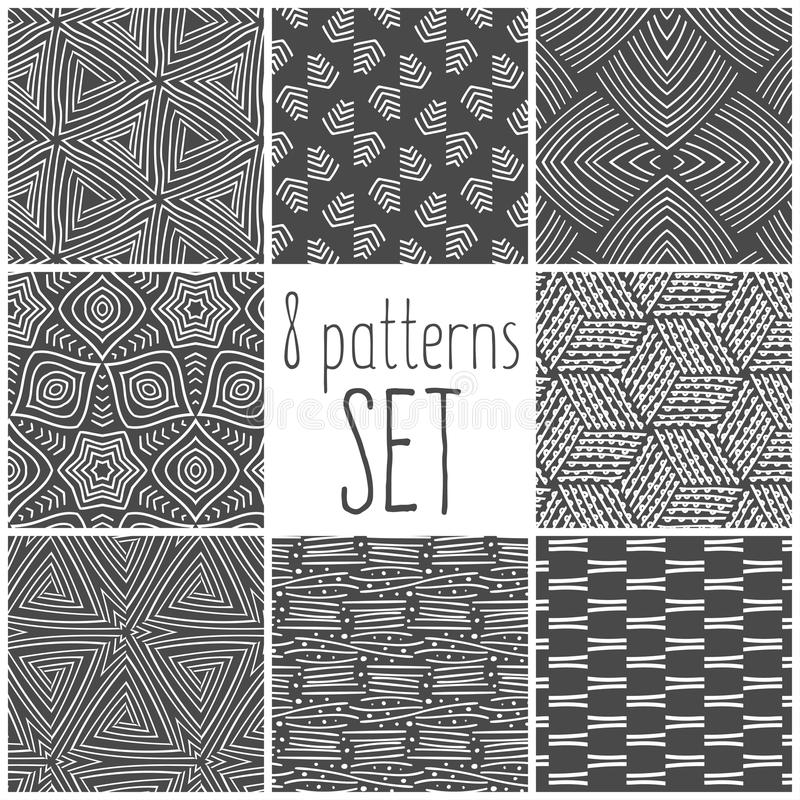 Eight pattern set, doodle patterns for your design. stock photos