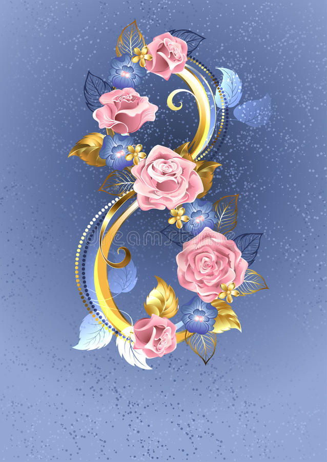 Eight of pink roses. Eight of interwoven pink roses and blue violets on a serene blue background stock illustration