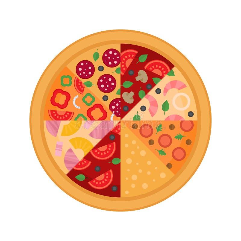 Eight pizza slice. Flat design. Vector Illustration. royalty free illustration