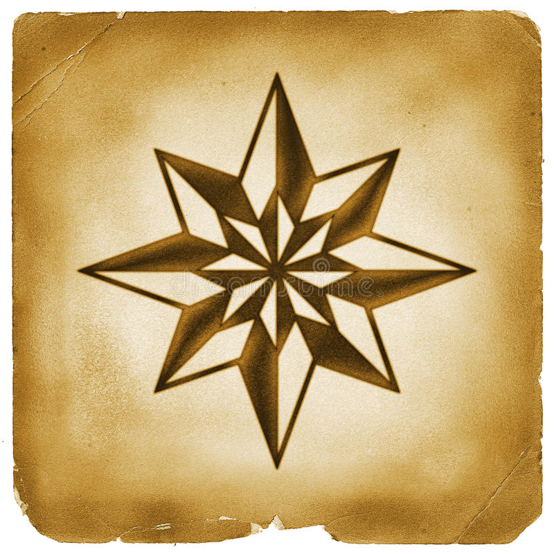 Eight point star on old paper. Compass star symbol mark on weathered papyrus. Vintage exploration treasure hunting icon stock illustration