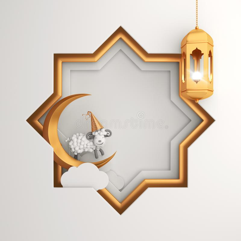 Eight point star paper cut and gold hanging lamp, crescent moon, cartoon sheep on white background. royalty free stock image