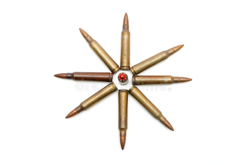 Eight-pointed star of rifle cartridges