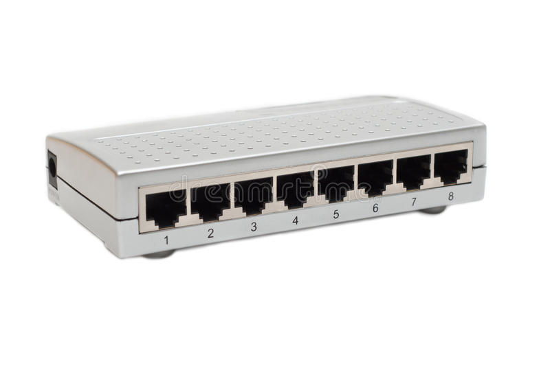 Eight port switch stock image