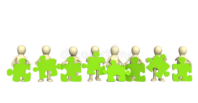 Eight puppets, holding in hands a puzzle stock illustration