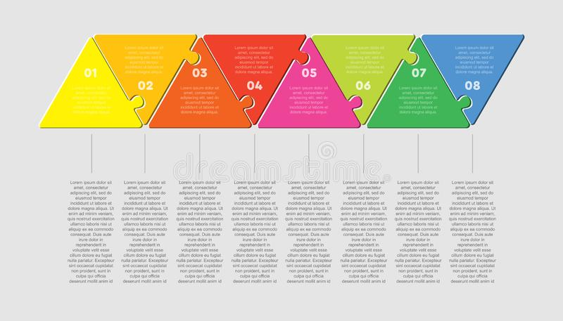 Eight puzzle jigsaw triangle line diagram graphic. Eight pieces puzzle triangles diagram. Triangle line business presentation infographic. 8 steps, parts vector illustration